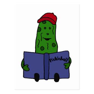 Funny Pickle Reading Pickleball Book Postcard