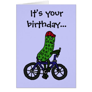 Funny Pickle Riding Bicycle Cartoon Card