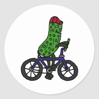 Funny Pickle Riding Bicycle Cartoon Sticker