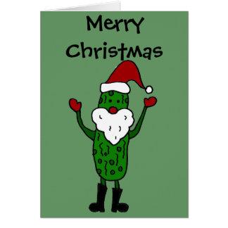 Funny Pickle Santa Claus Christmas Design Card