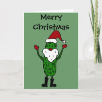 Funny Pickle Santa Claus Christmas Design Holiday Card