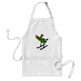 Funny Pickle Skiing Cartoon Adult Apron