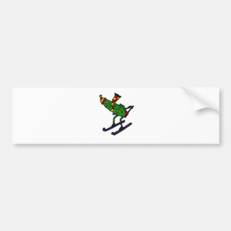 Funny Pickle Skiing Cartoon Bumper Sticker