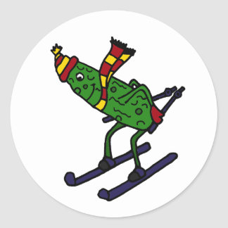 Funny Pickle Skiing Cartoon Classic Round Sticker