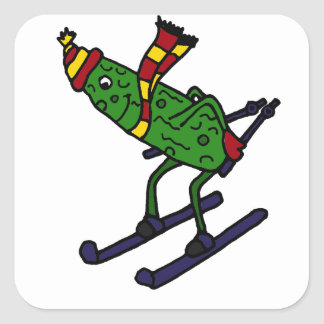 Funny Pickle Skiing Cartoon Square Sticker