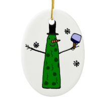 Funny Pickle Snowman Holding Pickleball Paddle Ceramic Ornament