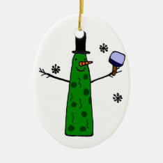 Funny Pickle Snowman Holding Pickleball Paddle Ceramic Ornament at Zazzle