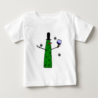 Funny Pickle Snowman Holding Pickleball Paddle Infant T-shirt