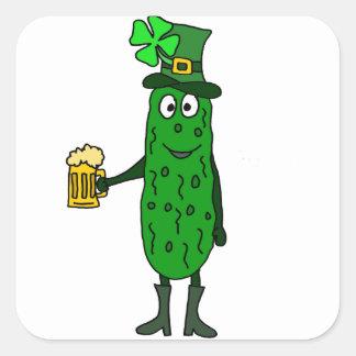 Funny Pickle St. Patrick's Day Art Square Sticker