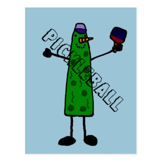 Funny Pickle with Paddle Pickleball Character Postcard