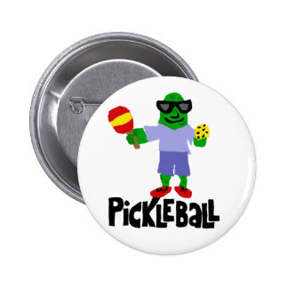 Funny Pickle with Pickleball Paddle Pinback Button