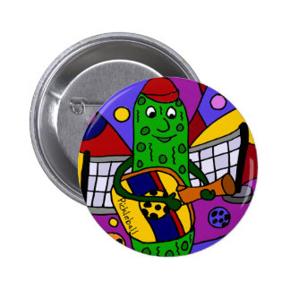 Funny Pickleball Abstract Art Original Button