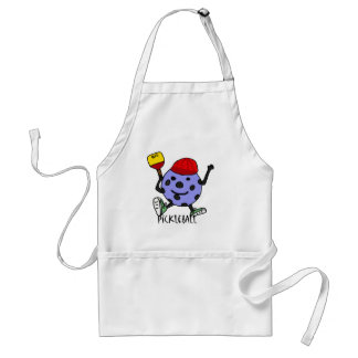 Funny Pickleball Ball Character Cartoon Adult Apron