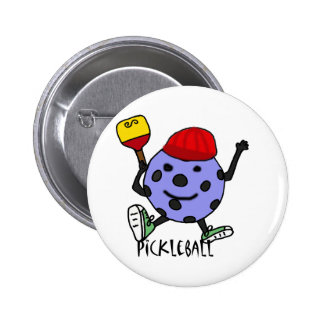 Funny Pickleball Ball Character Cartoon Pinback Button