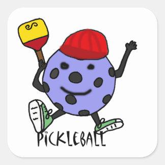 Funny Pickleball Ball Character Cartoon Square Sticker