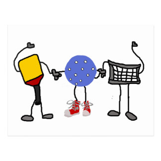 Funny Pickleball Cartoon Characters Postcard