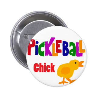 Funny Pickleball Chick Art Button