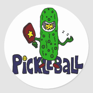 Funny Pickleball Monster Cartoon Classic Round Sticker