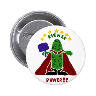 Funny Pickleball Super Hero Pickle Pinback Button