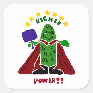 Funny Pickleball Super Hero Pickle Square Sticker