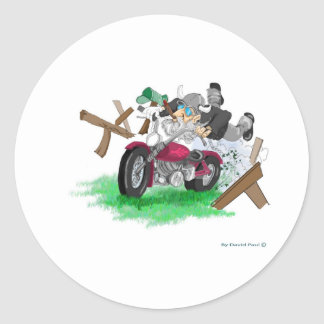 Funny picture of man on motorcycle crashing classic round sticker