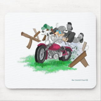 Funny picture of man on motorcycle crashing mouse pad