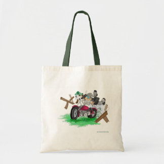 Funny picture of man on motorcycle crashing tote bag