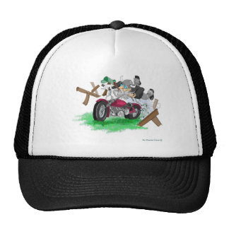 Funny picture of man on motorcycle crashing trucker hat