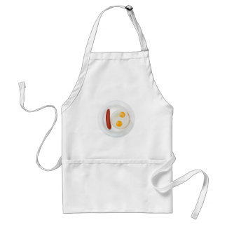 Funny picture of scrambled eggs with sausage apron