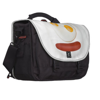 Funny picture of scrambled eggs with sausage laptop commuter bag