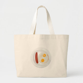 Funny picture of scrambled eggs with sausage large tote bag