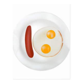 Funny picture of scrambled eggs with sausage postcard