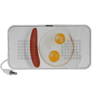 Funny picture of scrambled eggs with sausage speaker system