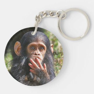 funny picture OF young chimpanzee Keychain