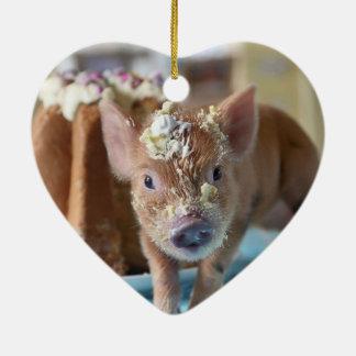 Funny pig and  the cake ceramic ornament