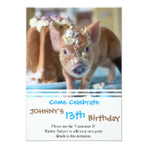 Funny pig and  the cake invitation