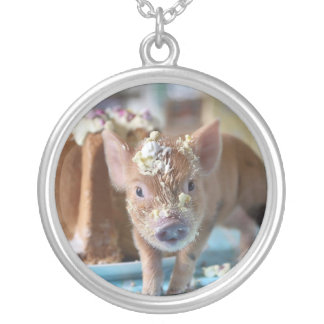 Funny pig and  the cake round pendant necklace