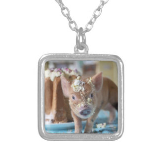 Funny pig and  the cake square pendant necklace