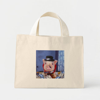 Funny pig and  the money mini tote bag