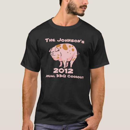 Funny Pig Annual Family BBQ Cookout Party Custom T-Shirt | Zazzle