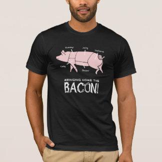 Funny Pig Bringing Home the Bacon Dark Design T-Shirt