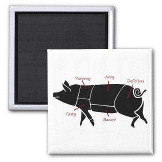 Funny Pig Butcher Chart Diagram 2 Inch Square Magnet