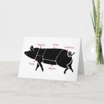 Funny Pig Butcher Chart Diagram Card