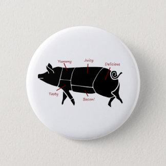 Funny Pig Butcher Chart Diagram Pinback Button