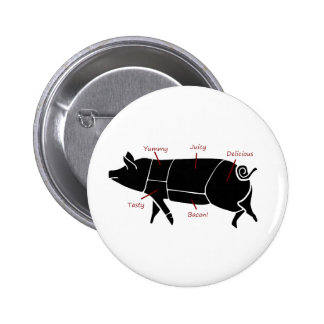 Funny Pig Butcher Chart Diagram Pinback Button