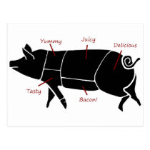 Funny Pig Butcher Chart Diagram Postcard