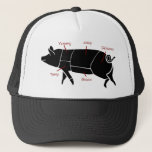 "Funny Pig Butcher Chart Diagram Trucker Hat<br><div class=""desc"">A simple diagram of a pig showing the different pork meat cuts,  with  funny pork loving,  meat eating,  finger licking,  mouth watering  labels!  This makes the perfect gift for the little piggie in your family,  or the bbq master,  butcher,  pig farmer. Mmmmeat!</div>"