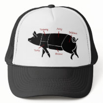 Funny Pig Butcher Chart Diagram Trucker Hat