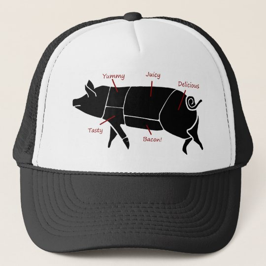 Funny Pig Butcher Chart Diagram Trucker Hat Zazzle