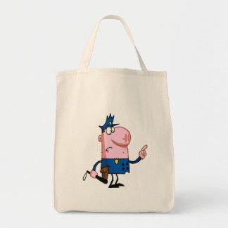 funny pig cartoon cop bag